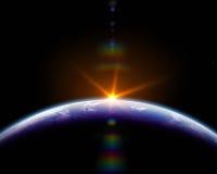 Zonsopgang in ruimte Stock Illustratie