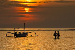 Zonsopgang in Sanur Stock Afbeelding