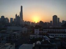 Zonsopgang in Shanghai Stock Foto's