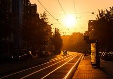 Zonsopgang stedelijke tramstop royalty-vrije stock foto