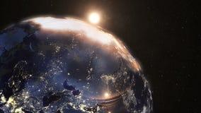 Zonsopgang ter wereld van Ruimte van Ruimte wordt gezien die royalty-vrije illustratie