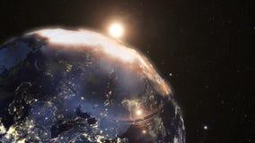 Zonsopgang ter wereld van Ruimte van Ruimte wordt gezien die stock videobeelden