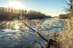 Zonsopgang tijdens vorst-omhoog in de rivier royalty-vrije stock foto