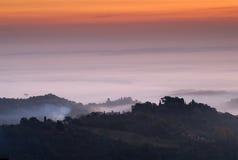 Zonsopgang, Toscanië, Montepulciano, Italië royalty-vrije stock foto