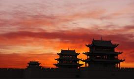 Zonsopgang van de Toren van de Pas Jiayuguan royalty-vrije stock foto's