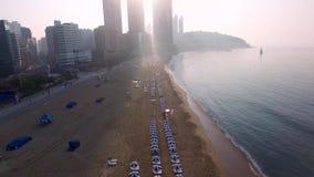Zonsopgang van het Strand van de Zomerhaeundae, Busan, Zuid-Korea, Azië