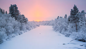 Zonsopgang van Lapland Stock Afbeelding