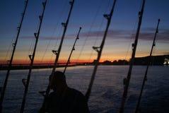 Zonsopgang visserij Stock Foto