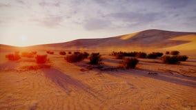 Zonsopgang of zonsondergang in een woestijn stock illustratie