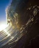 Zonsopganggolven Kauai, HALLO stock foto