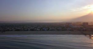 Zonsopgangmening van de Kustlijn van Los Angeles stock videobeelden