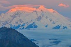 Zonsopgangmening van Onderstel Denali - de piek van MT Mckinley met rode alpenglow van Steenachtige Koepel overziet Denali Nation royalty-vrije stock fotografie