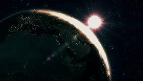 Zonsopgangmening van ruimte op Aarde De streek van Afrika en van Amerika Wereld die op zijn as in zwart Heelal in sterren roteren vector illustratie