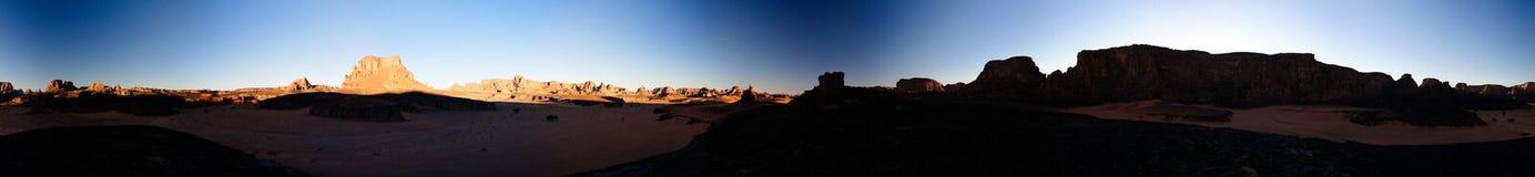 360 zonsopgangpanorama aan de vallei van Moul Naga bij in het nationale park van Tassili nAjjer, Algerije Royalty-vrije Stock Fotografie