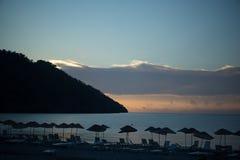 Zonsopgangzon boven overzees en hemel Turkije Stock Foto's