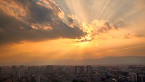 Zonuitbarsting, de stad van Peking Royalty-vrije Stock Foto