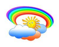 Zonwolken en regenboog Royalty-vrije Stock Fotografie