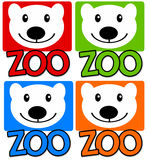 Zoo. Colorful zoo icons with polar bear Royalty Free Stock Photography
