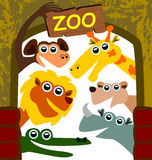 Zoo. Illustration of a group of smiling cartoon animals at the zoo entrance vector illustration