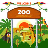 Zoo African Animals. With exotic birds at sunrise or sunset vector illustration Stock Image