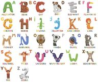 Free Zoo Alphabet. Animal Alphabet. Letters From A To Z. Cartoon Cute Animals Isolated On White Background Stock Image - 114792591