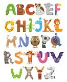 Zoo alphabet. Animal alphabet. Letters from A to Z. Cartoon cute animals isolated on white background. Different animals vector illustration