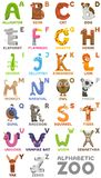 Zoo alphabet. Animal alphabet. Letters from A to Z. Cartoon cute animals isolated on white background. Different animals Royalty Free Stock Images