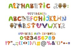 Zoo alphabet. Animal alphabet. Letters from A to Z. Cartoon cute animals isolated on white background. Different animals. Vector color font with uppercases Royalty Free Stock Photography