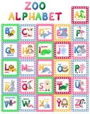 Zoo alphabet animal letters cartoon cute characters isolated different educational english abs kid letter illustration. Learn typography teach card education stock illustration