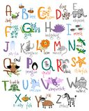 Zoo alphabet. Ant bee cow dog frog hedgehog goat insect jellyfish newt quail starfish. Vector illustration Stock Images