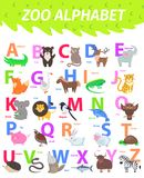 Zoo Alphabet with Cute Animals Cartoon Flat Vector. Zoo alphabet with cute animals cartoon vector. English letters set with funny animals isolated flat stock illustration