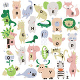 Zoo alphabet. With cute animals in cartoon style Stock Photography