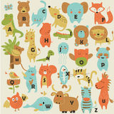 Zoo alphabet. With cute animals in cartoon style vector illustration