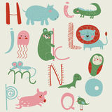 Zoo alphabet. With cute animals in cartoon style Royalty Free Stock Image