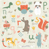 Zoo alphabet. With cute animals in cartoon style Stock Photo