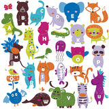 Zoo alphabet. With cute animals in cartoon style Royalty Free Stock Photo