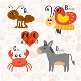 Zoo alphabet with funny animals. A, b, c, d letters. Ant, butter. Zoo alphabet with funny animals. A, b, c, d letters. Vector illustration Stock Image