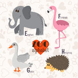 Zoo alphabet with funny animals. E, f, g, h letters. Elephant, f Royalty Free Stock Image
