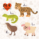 Zoo alphabet with funny animals. I, j, k, l letters. Iguana, jag. Zoo alphabet with funny animals. I, j, k, l letters.  Vector illustration Royalty Free Stock Photos