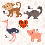 Zoo alphabet with funny animals. M, n, o, p letters. Monkey, numbat, ostrich, pig