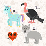 Zoo alphabet with funny animals. U, v, w letters. Unicorn, vultu. Zoo alphabet with funny animals. U, v, w letters. Vector illustration Stock Illustration