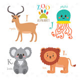 Zoo alphabet with funny cartoon animals. I, j, k, l letters. Imp Royalty Free Stock Images