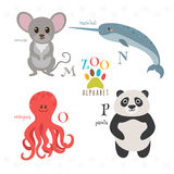 Zoo alphabet with funny cartoon animals. M, n, o, p letters. Mou Stock Image