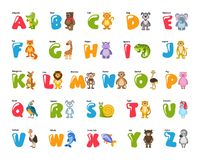 Zoo alphabet for kids with funny animals, birds, fish. vector illustration