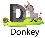 Free Zoo Animal Alphabet D For Donkey With The Animal Beside Stock Photos - 136131863