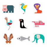 Zoo animal icon set Stock Photography