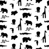 Zoo animal silhouettes seamless pattern vector. Stock Image