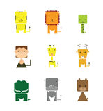 Zoo Animal Square Faces Vector Illustration Stock Image