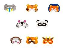 Zoo Animals. Collage of eight foam zoo animal masks isolated on white Stock Image