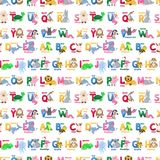 Zoo animals alphabet seamless pattern abc background cute cartoon wild characters illustration. Creative kids texture for fabric, wrapping, textile wallpaper vector illustration